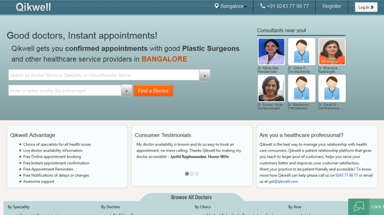 Find a good doctor, get a confirmed appointment in Bangalore - Qikwell
