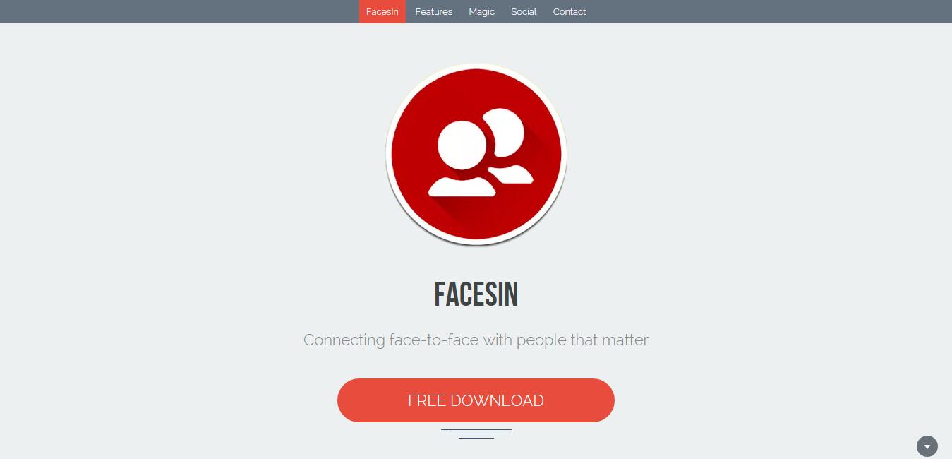 facesin social location app