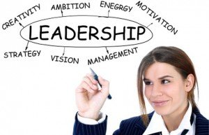 businesswoman drawing plan of Leadership